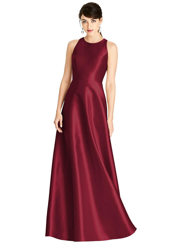 Sleeveless Open-Back Satin A-Line Dress By Alfred Sung  D746 in 36 colors
