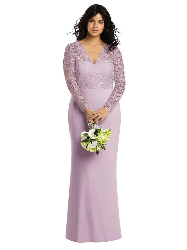 Long Sleeve Illusion-Back Lace Trumpet Gown By Dessy 3014 in 7 colors