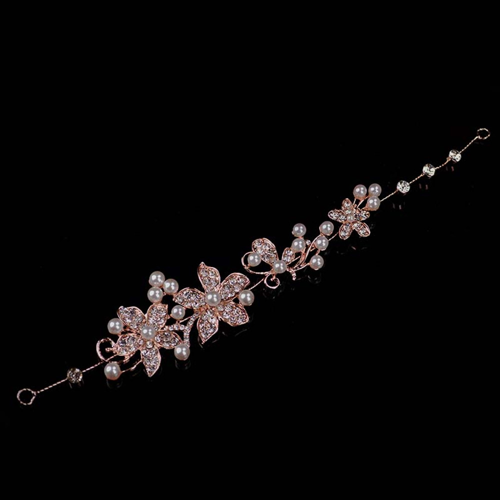 Rose Gold and White Tiara Bridal Headpeice