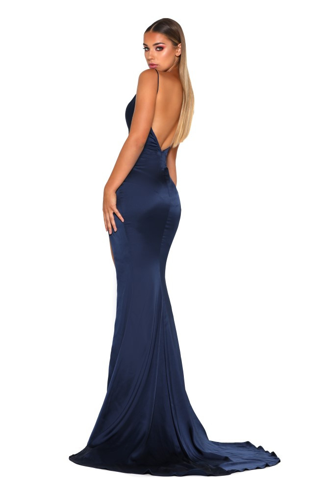 Hugo Gown Satin Navy by Portia & Scarlett
