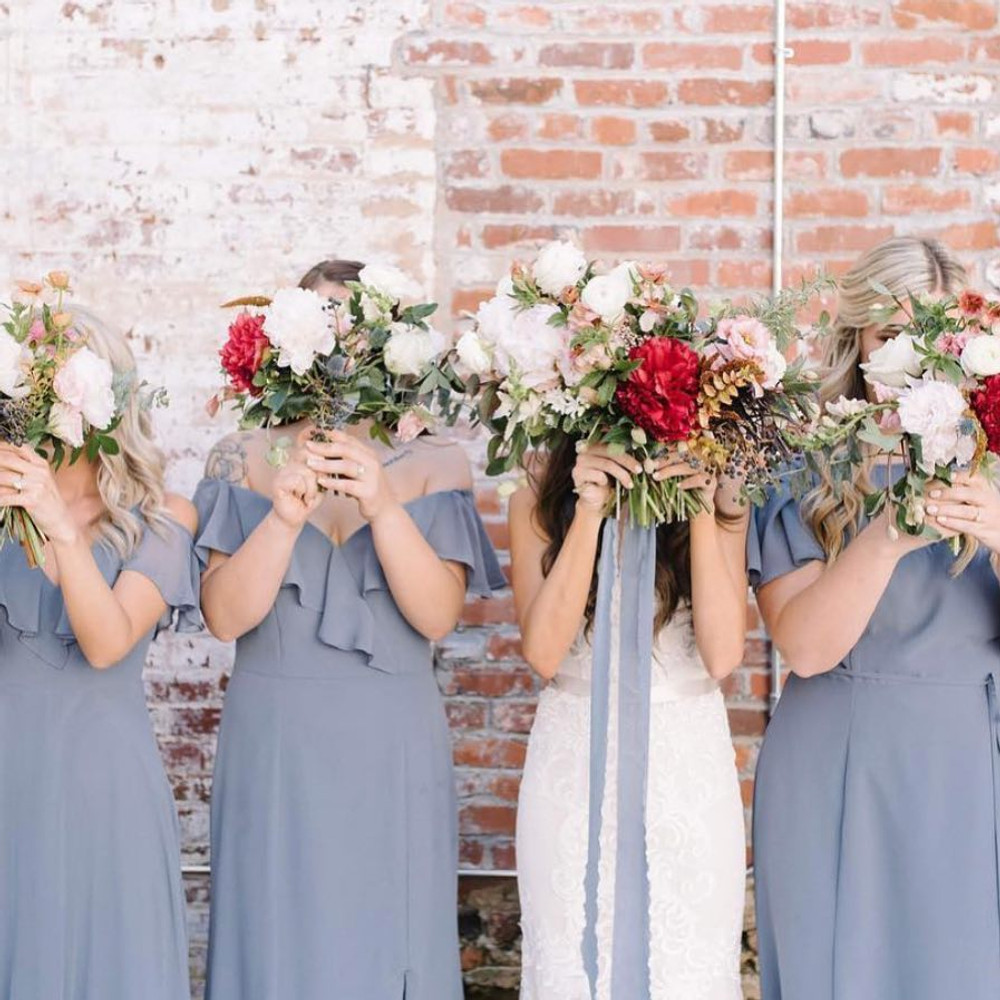 Mix and Match Bridesmaid dresses. Dress 8190, along with 3020 & 6778, all worn in Platinum colour.