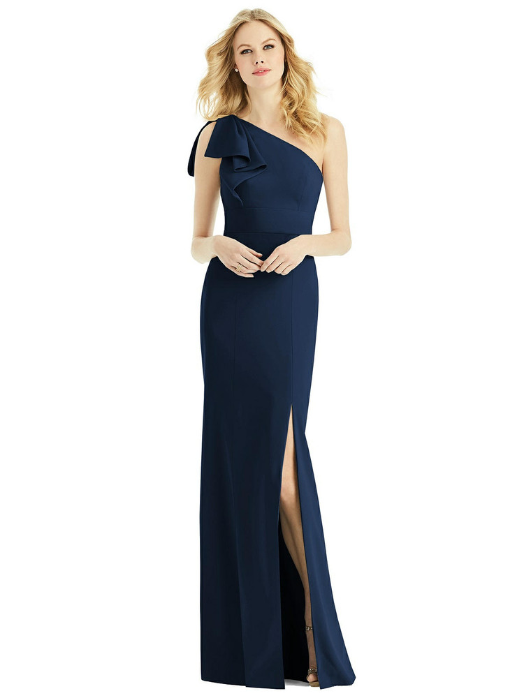 Bowed One-Shoulder Trumpet Gown by After Six 6769 in 33 colors