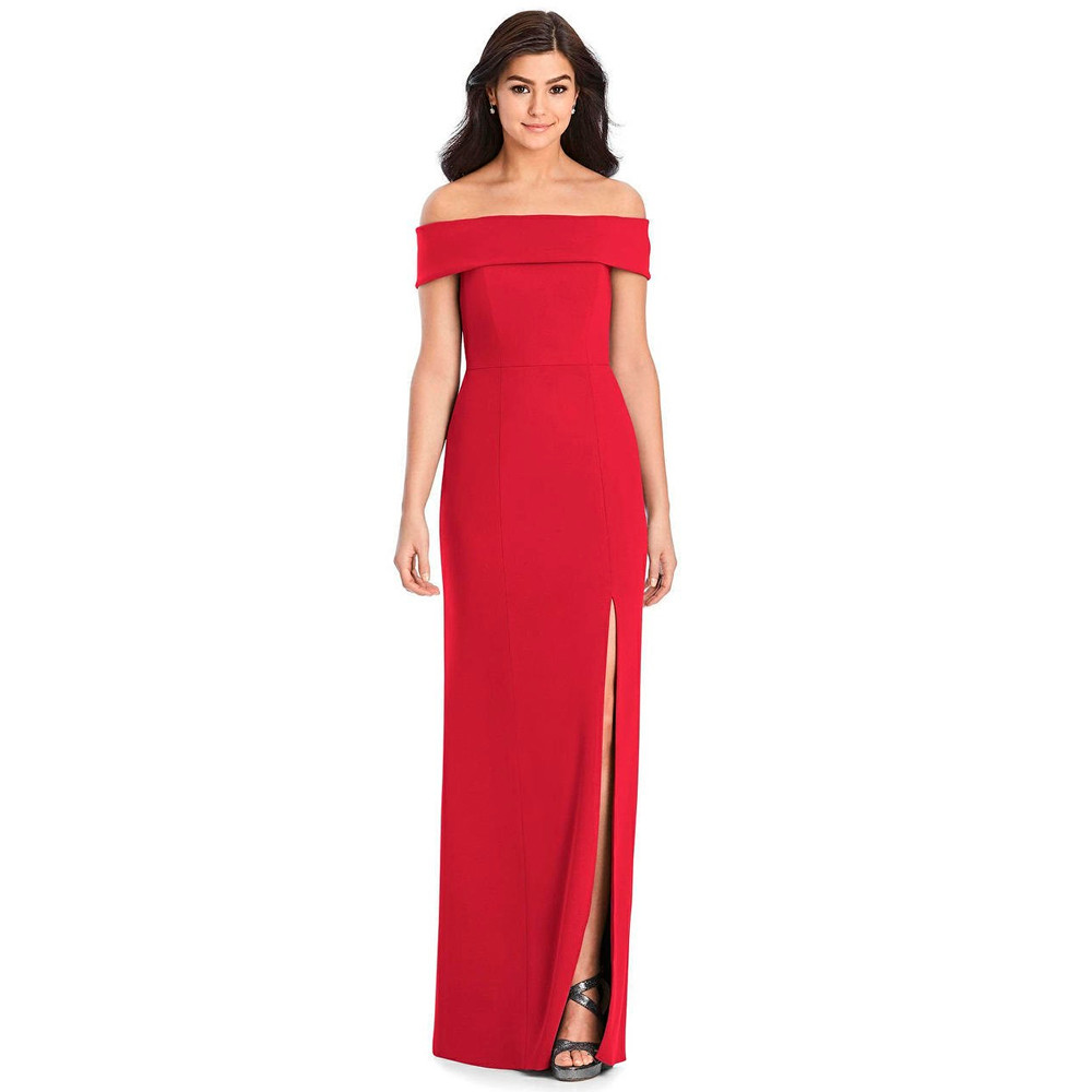 Cuffed Off-the-Shoulder Trumpet Gown by Dessy 3030 in 35 colors