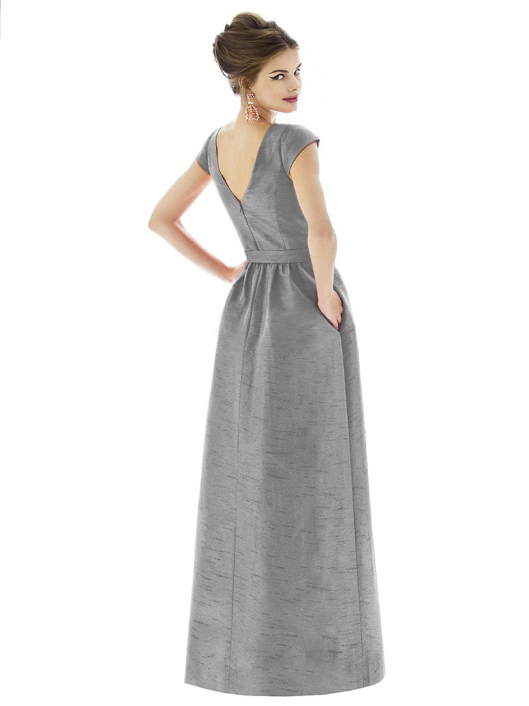 Cap Sleeve V-Back Maxi Dress with Pockets by Alfred Sung D569 in 3 colors