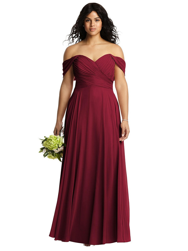 Off-the-Shoulder Draped Chiffon Maxi Dress by Dessy Bridesmaids 2970 in 63 colors burgundy