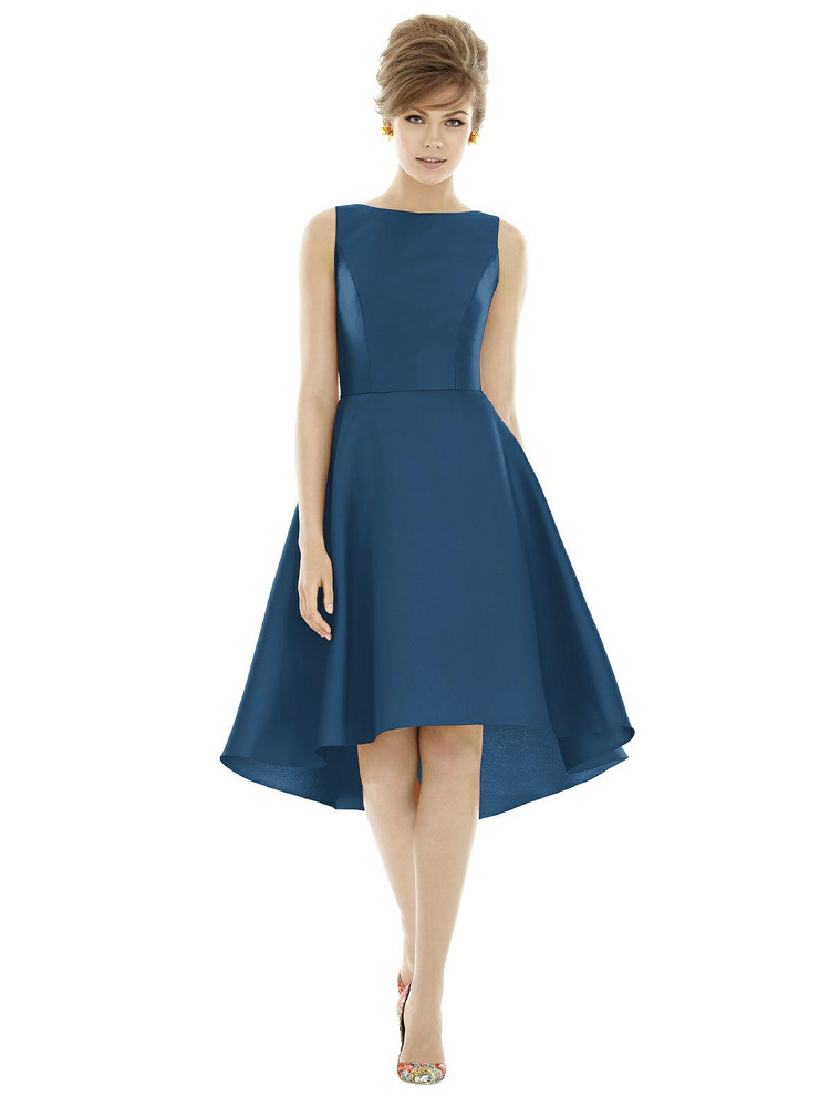 Bateau Neck Satin High Low Cocktail Dress by Alfred Sung D697 in 37 colors