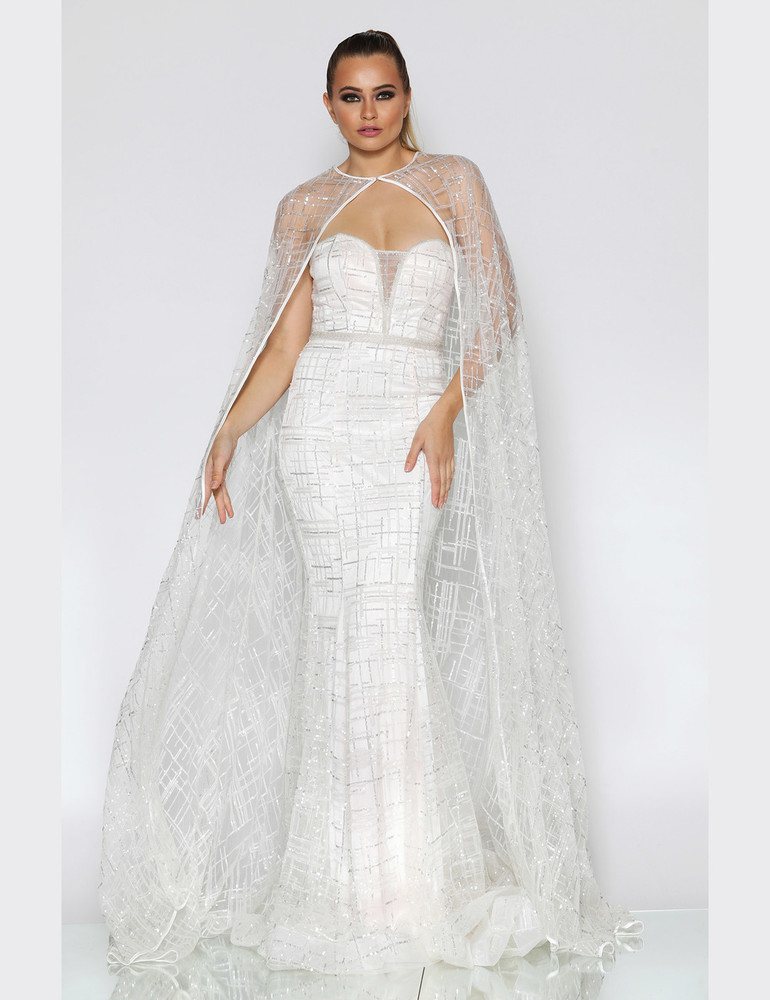 Evening Gown by Jadore JX1109 Overlay Cape
