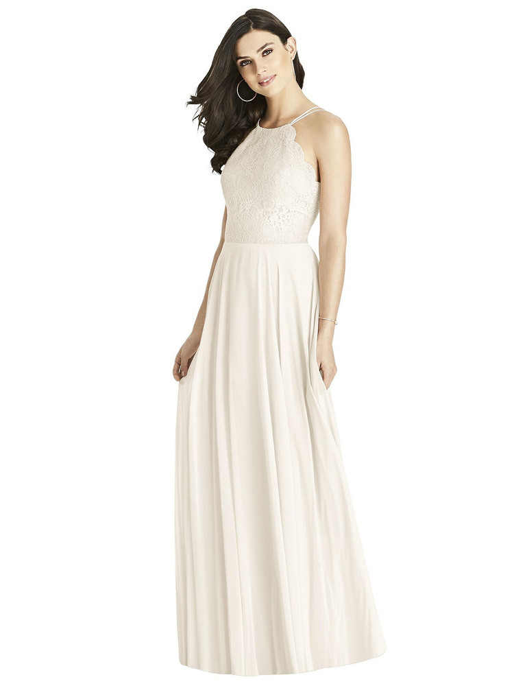 Lace Bodice Halter Maxi Dress By Dessy 3017 in 7 colors