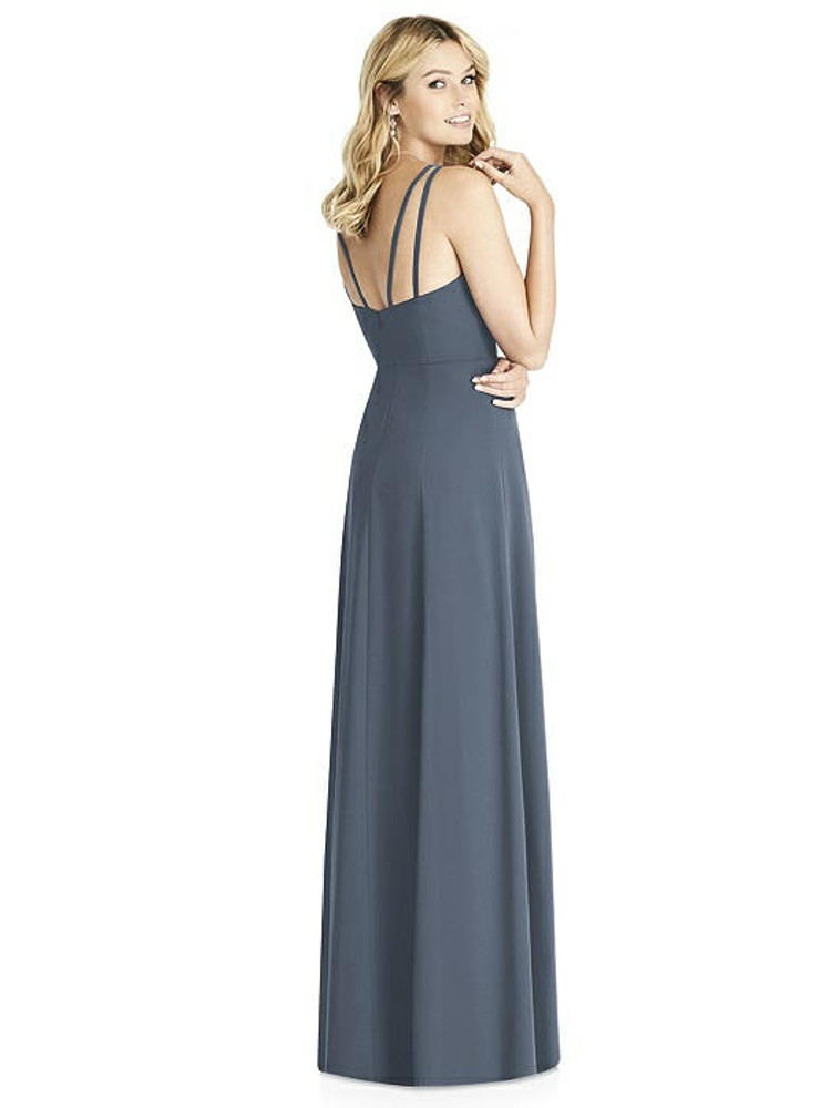 Dual Spaghetti Strap Crepe Dress with Front Slits by Social Bridesmaid 8187 in 34 colors