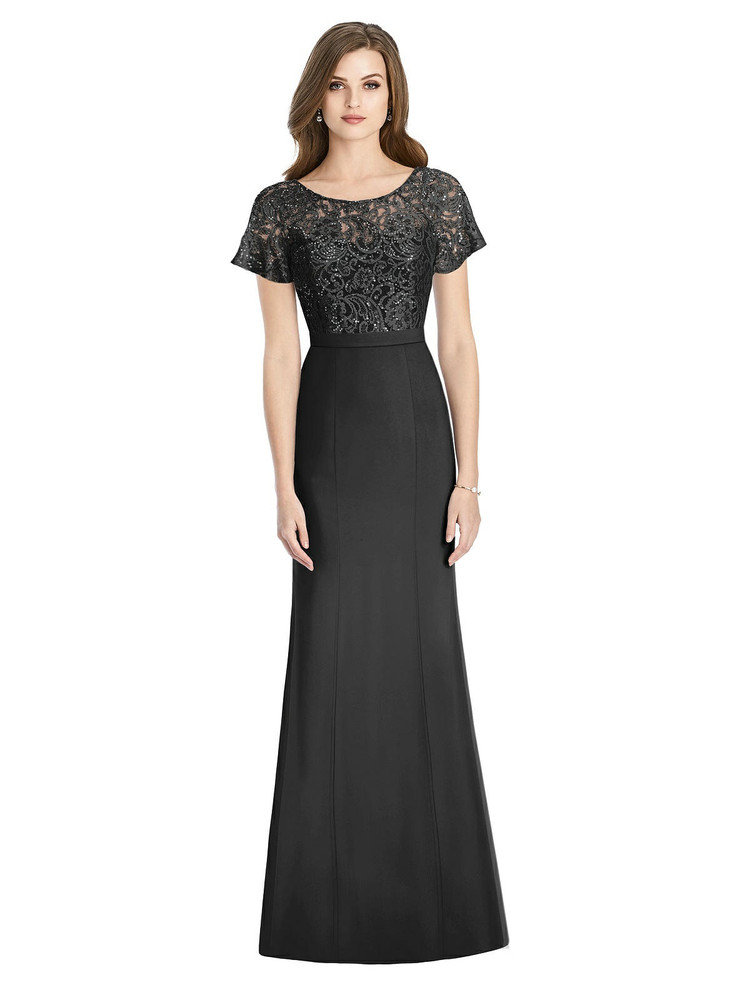 Short Sleeve Lace and Crepe Trumpet Gown By Jenny Packham Bridesmaid JP1010 in 6 colors
