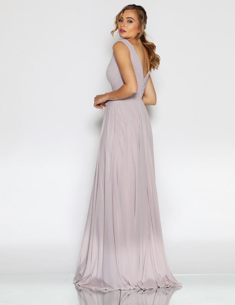 Kiera Dress By Les Demoiselle LD1111 Full Length V Neck Gown with Gathered Detail