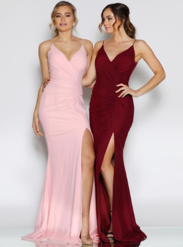 Chris Dress By Les Demoiselle LD1096 V Neck V Back Ruched Floor Length Gown with Thigh High Slit