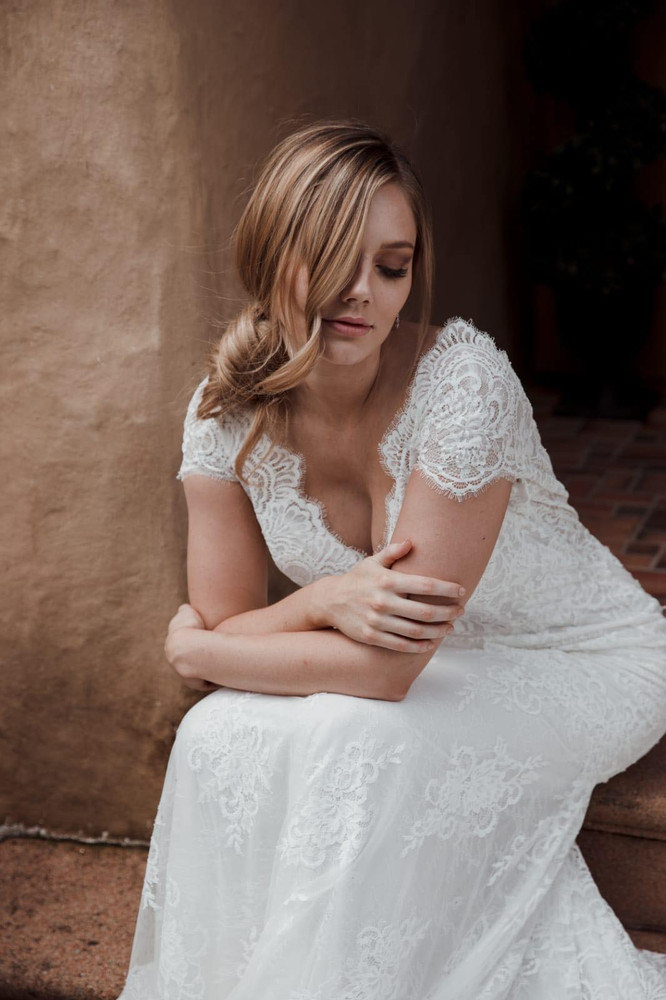 Dawn Wedding Gown by Calla Blanche in size 12 in Ivory/Ivory