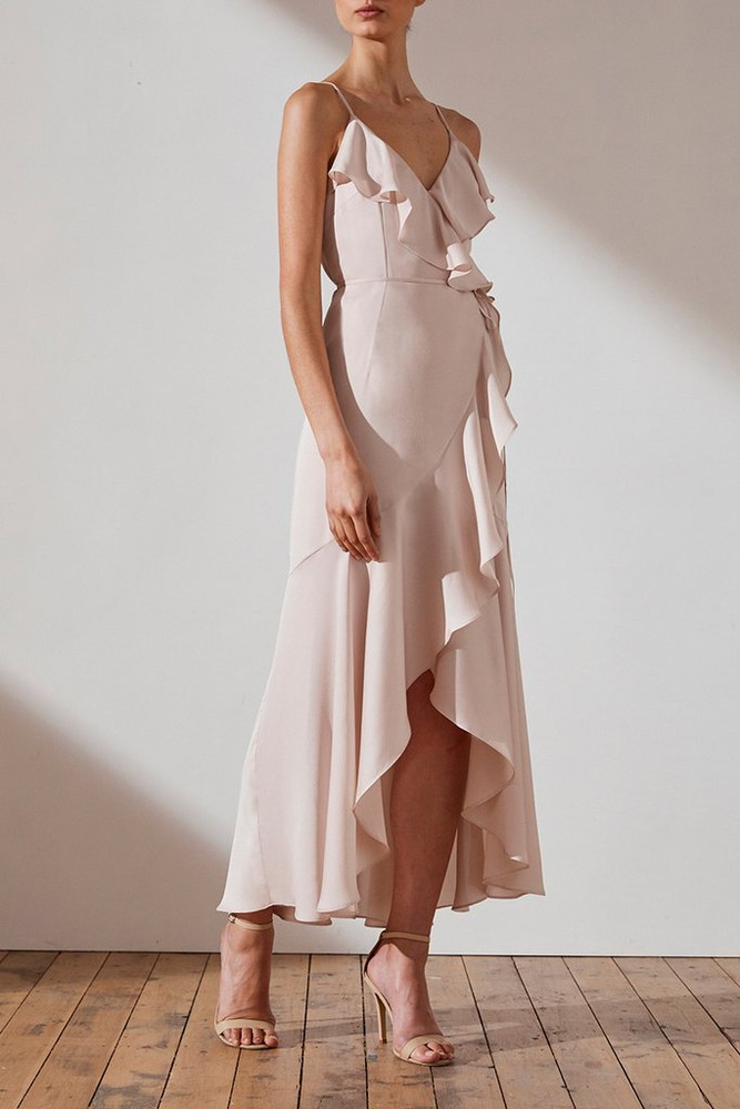 LUXE BIAS FRILL WRAP DRESS - PORCELAIN