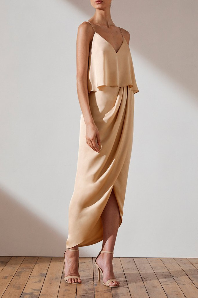 Shona Joy Luxe Cocktail Frill Dress - Champagne