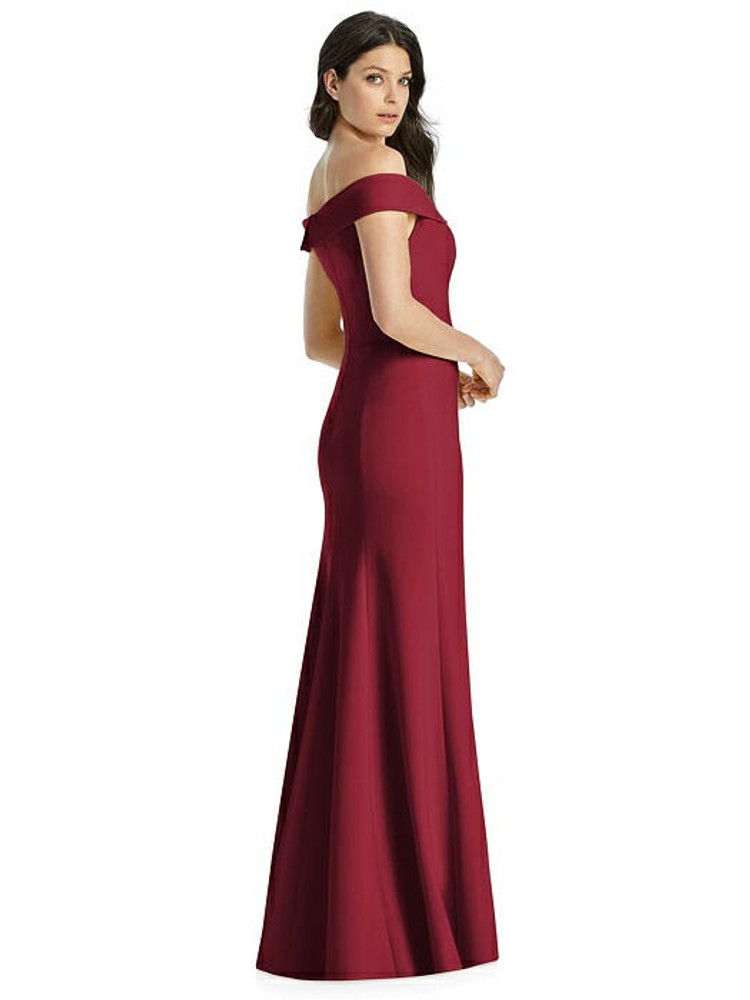 Off-the-Shoulder Notch Trumpet Gown with Front Slit by Dessy Bridesmaids 3038 in 35 colors