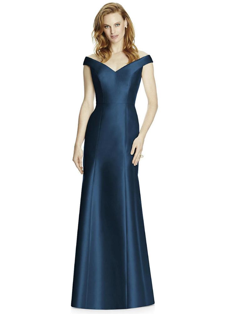 Off-the-Shoulder V-Neck Satin Trumpet Gown by Studio Design 4519 in 33 colors