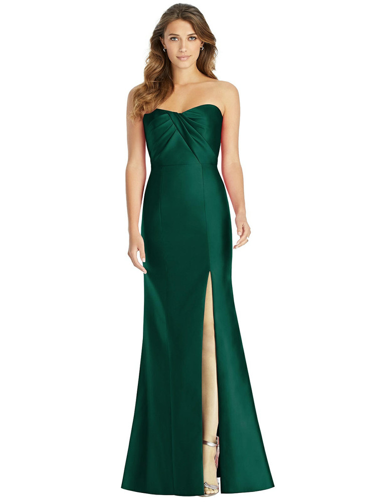 Strapless Draped Bodice Trumpet Gown by Alfred Sung D762 in 37 colors