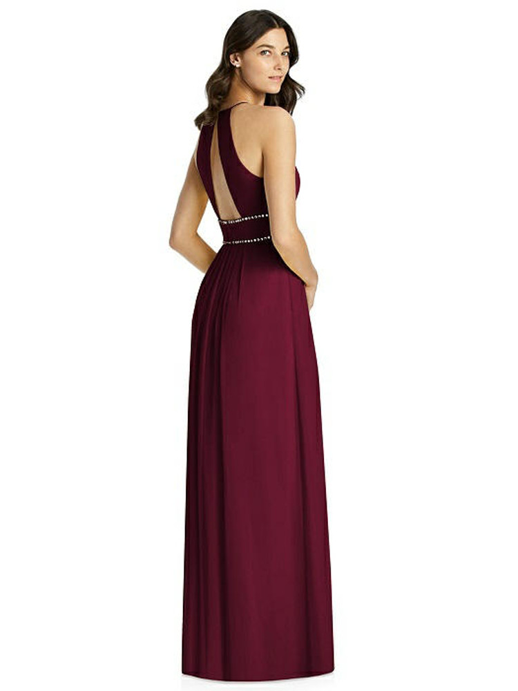 Keyhole Jewel-Trimmed Waist Halter Dress by Jenny Packham Bridesmaid JP1023 in 64 colors