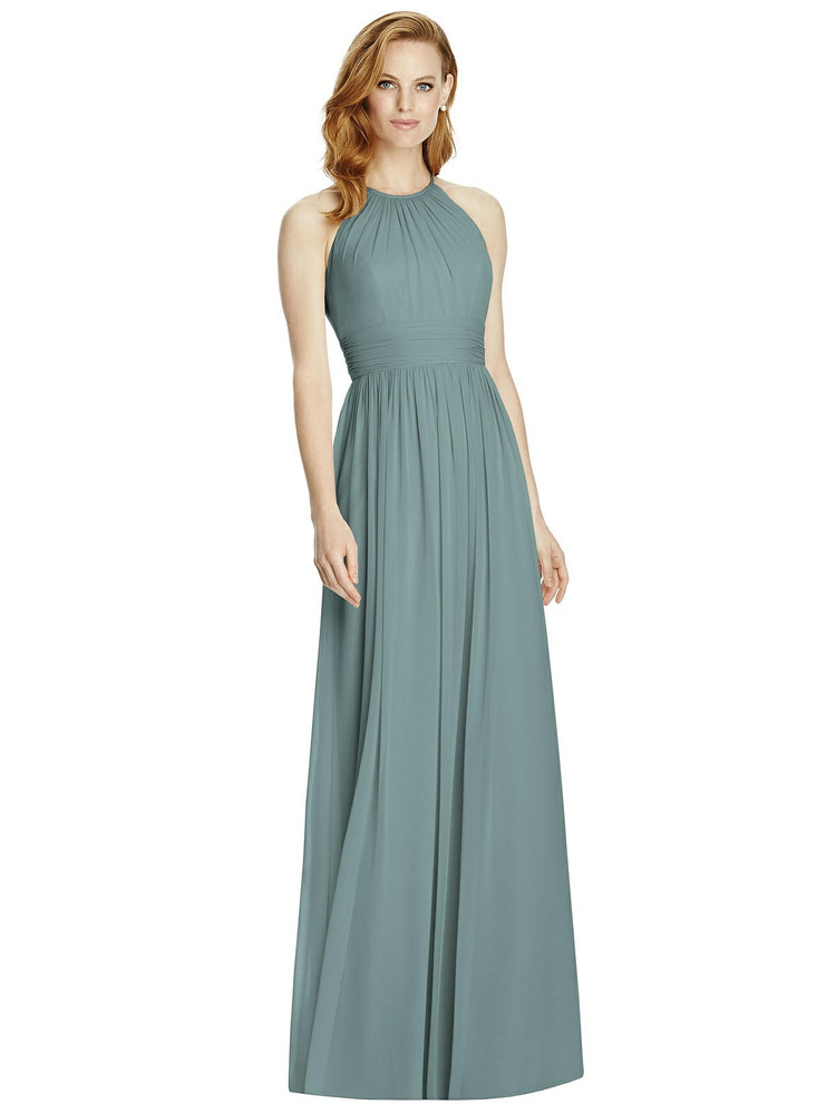 Cutout Open-Back Shirred Halter Maxi Dress by Studio Design 4511 in 64 colors