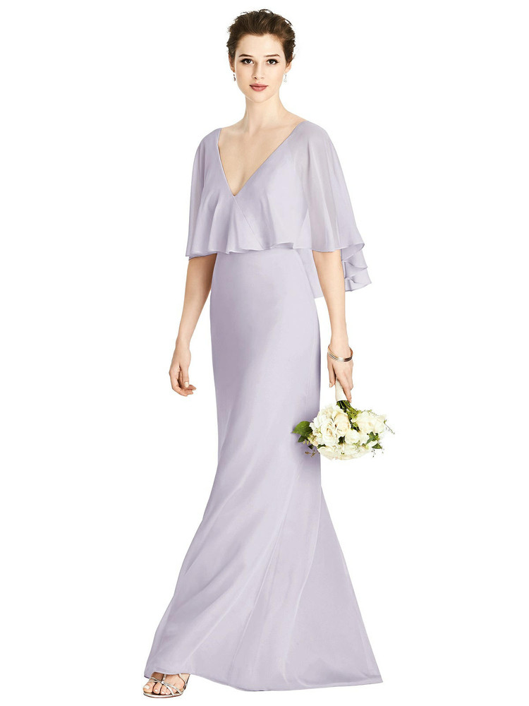 V-Back Trumpet Gown with Draped Cape Overlay by Studio Design 4538 in 63 colors