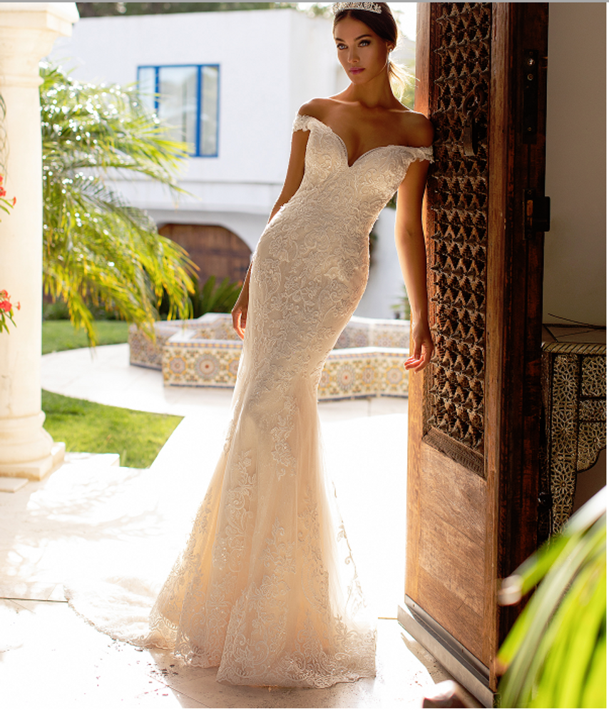 Jenna Off-the-Shoulder Net and Chantilly Lace Wedding Dress H1391 by Moonlight Bridal