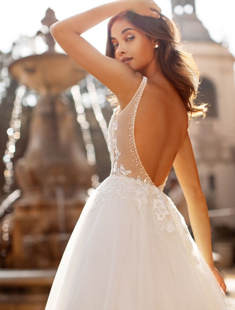 Riley Tulle Bridal Ball Gown with a Soft Horsehair Hem J6741 by Moonlight Bridal