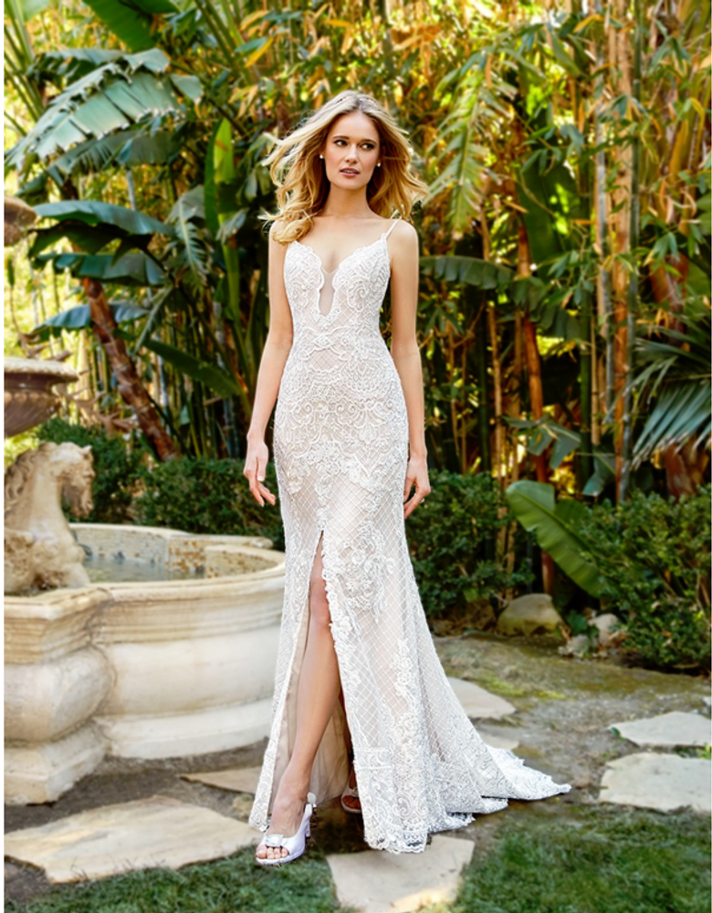 Skylar Dotted Lattice Net Mermaid Dress with Front Slit H1360 by Moonlight Bridal