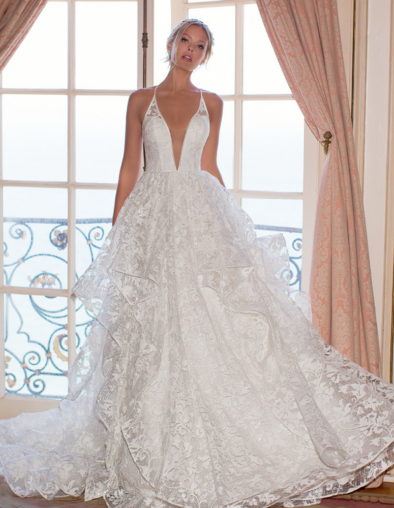 Hailey V Neck Wedding Gown With Lacy Illusion Back H1373 By