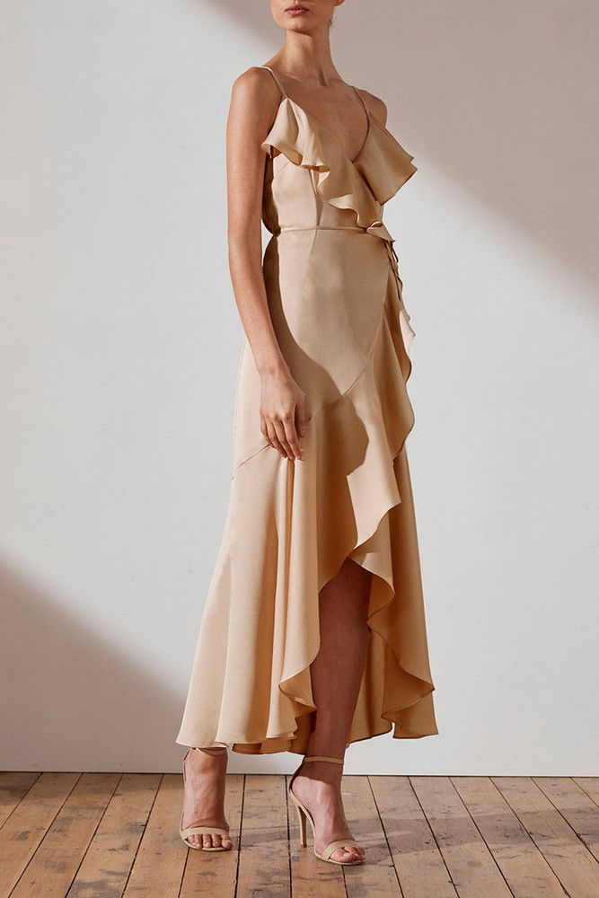 LUXE BIAS FRILL WRAP DRESS - Champagne