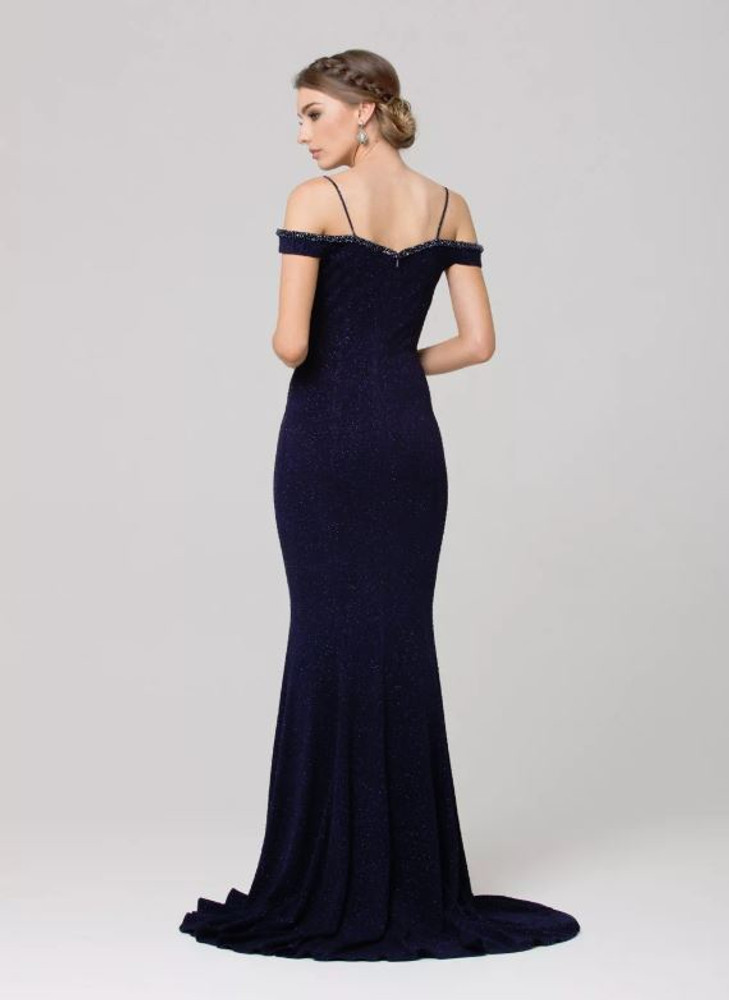 Alicia beaded wide shoulder evening dress