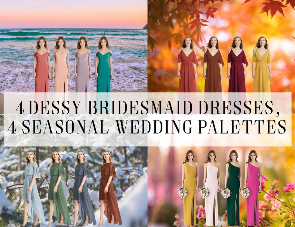 4 Dessy Bridesmaid Dresses for Seasonal Wedding Colour Palettes