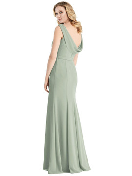 Sleeveless Cowl-Back Trumpet Gown by Jenny Packham Dress JP1032 in 34 colors willow