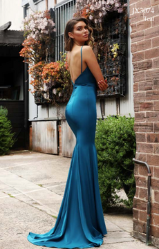 Trudy JX3074 Dress by Jadore Evening in teal size 10