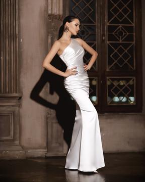 Reese Dress JP101 by Jadore Evening Ruched Satin One Shoulder Mermaid Dress