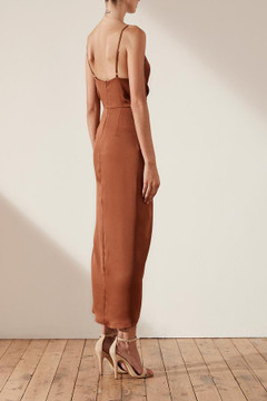LUXE TIE FRONT COCKTAIL DRESS - MOCHA size 6, 8