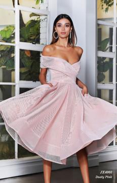 Gabriela Dress JX4003 by Jadore Evening Off the Shoulder Flared A Line Midi Length Mesh Cocktail Dress