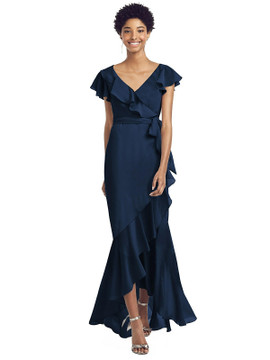 Ruffled High Low Faux Wrap Dress with Flutter Sleeves by Social Bridesmaid 8199 in 36 colors