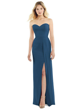 Strapless Chiffon Dress with Pleated Front Slit by Jenny Packham JP1039 in 64 colors