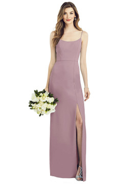 Spaghetti Strap V-Back Crepe Gown with Front Slit AS6822