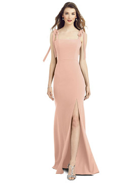 Bowed Flat Strap Trumpet Gown with Front Slit  by After Six 6826 in 34 colors