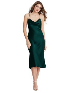 Piper - Cowl-Neck Convertible Midi Slip Dress available in 22 colors evergreen