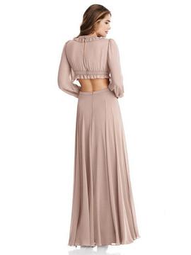 Harlow - Bishop Sleeve Ruffled Chiffon Cutout Maxi Dress