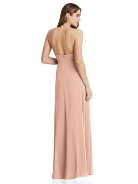 Lela - High Neck Chiffon Maxi Dress with Front Slit