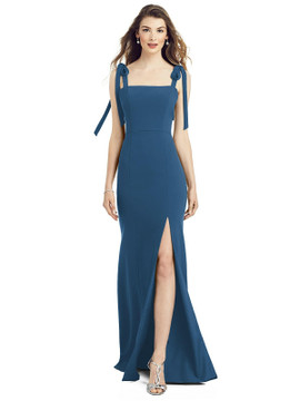 Bowed Flat Strap Trumpet Gown with Front Slit AS6826