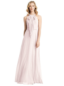 Ruffle Halter Chiffon Maxi Dress by Jenny Packham Dress JP1029 in 63 colors blush