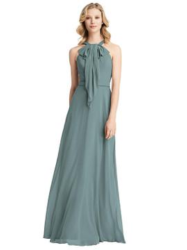 Ruffle Halter Chiffon Maxi Dress by Jenny Packham Dress JP1029 in 63 colors in icelandic