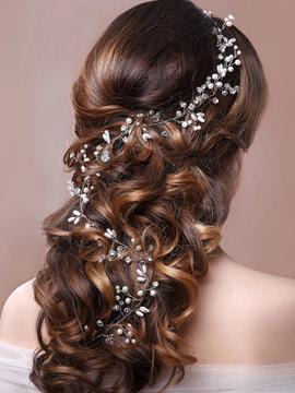 Wedding Hairpiece Silver Leaf Crystal