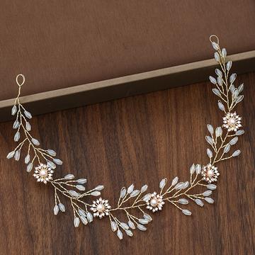Wedding Headdress Gold Floral Pearl