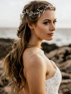 Wedding Hairpiece Leaf Crystal Silver